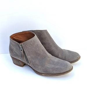 Lucky Brand Gray Leather Ankle Bootie Size 10